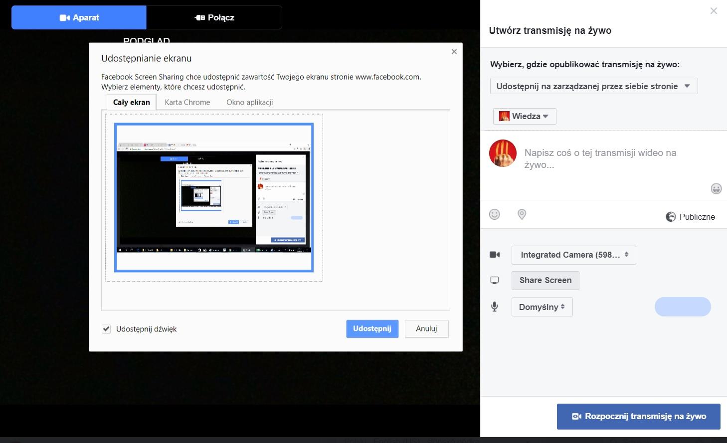 Nowość w transmisjach live na Facebooku – podzielony ekran oraz super narzędzie.